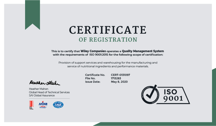 Wiley Companies Earns Coveted ISO 9001:2015 Certification
