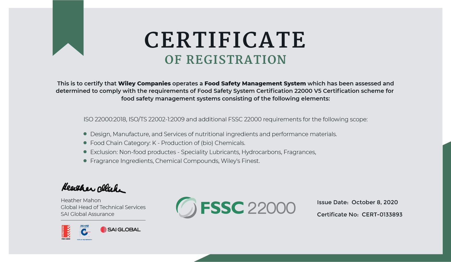 Wiley Companies Earns Coveted FSSC 22000 Certification